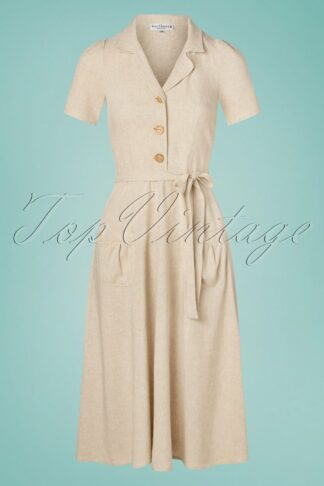 40s Midi Revers Linnen Dress in Naturel