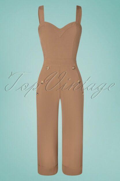 40s Noel Wide Leg Jumpsuit in Camel Brown