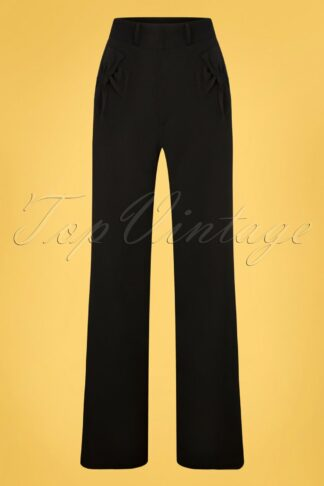 40s Patty Bow Wide Trousers in Black