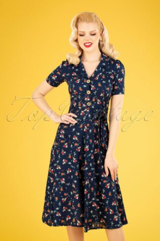 40s Primavera Revers Midi Dress in Navy
