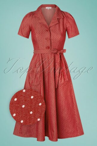 40s Revers Midi Dots Dress in Denim Red