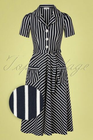 40s Revers Midi Dress in Navy and White Stripes