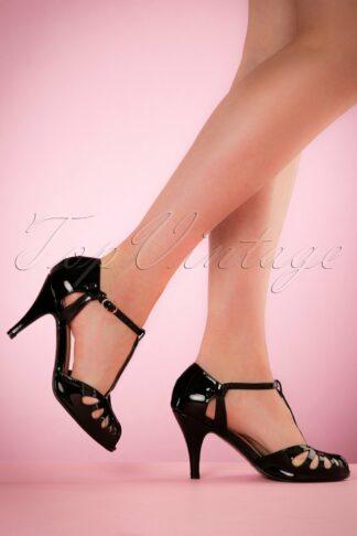 40s Secret Love Sandals in Black