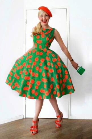 50s Adriana Floral Swing Dress in Emerald Green