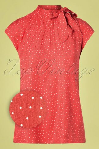 50s Anna Pin Dot Top in Strawberry Red