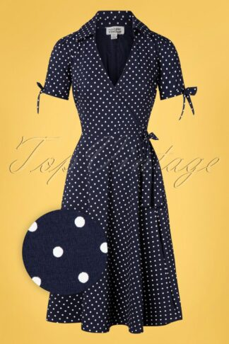 50s Bianca Polkadot Wrap Swing Dress in Navy