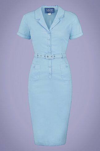 50s Caterina Pencil Dress in Light Blue