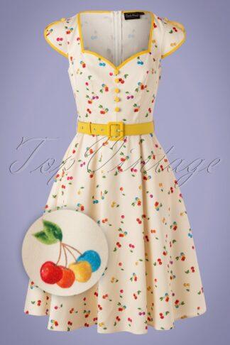 50s Chacha Cherry Swing Dress in Cream
