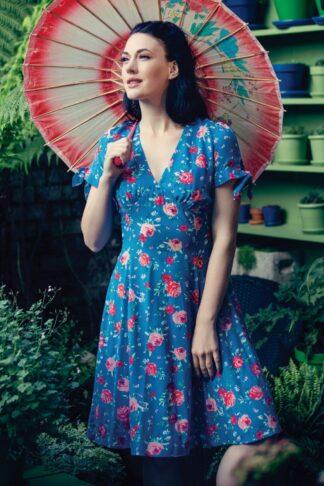50s Chantilly Mid Swing Dress in Blue