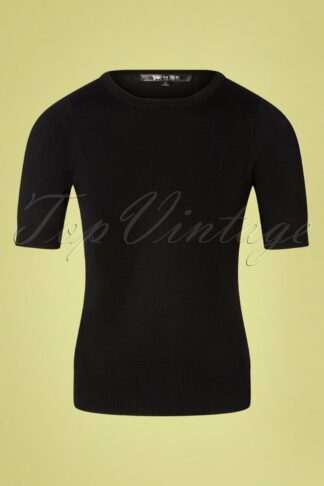 50s Debbie Short Sleeve Sweater in Black