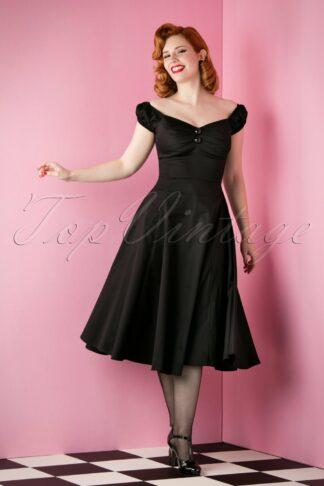 50s Dolores Doll Swing Dress in Black