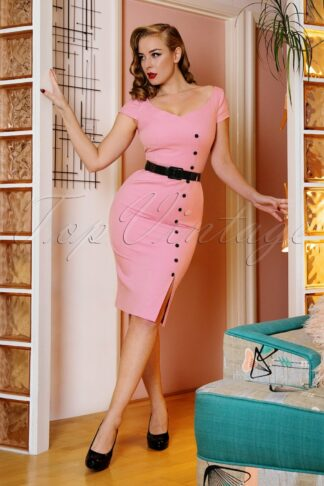 50s Eloise Pencil Dress in Flamingo Pink