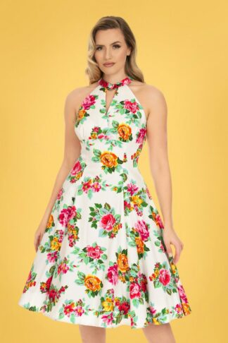 50s Fae Floral Swing Dress in White
