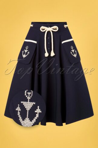 50s Florence Anchor And Rope Swing Skirt in Navy