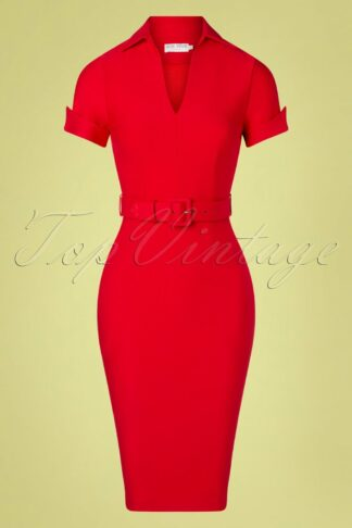 50s Georgie Pencil Dress in Lipstick Red
