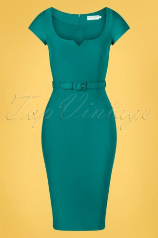 50s Gina Pencil Dress in Teal
