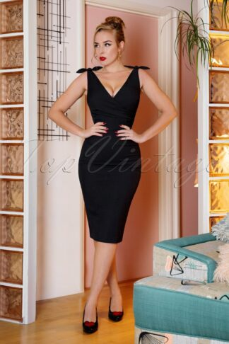 50s Harper Pencil Dress in Black