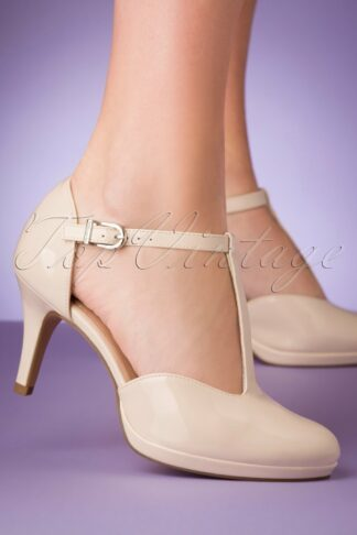 50s Jenny Lacquer T-Strap Pumps in Cream
