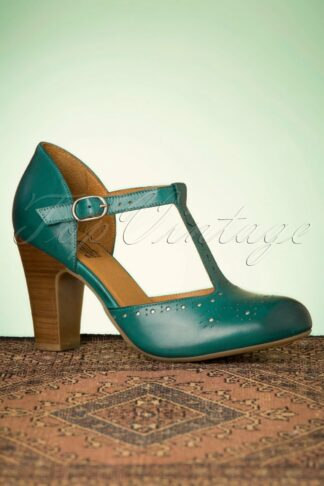 50s Joelle T-Strap Pumps in Marine