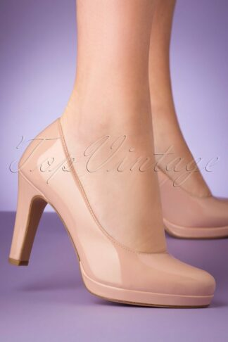 50s Katie Laquer Pumps in Nude Rose