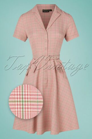 50s Kenzy Plaid Bow Swing Dress in Pink