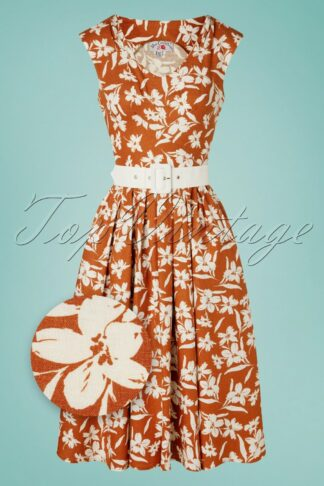50s Kortney Amber Floral Swing Dress in Brick