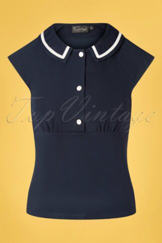 50s Lady Front Button Top in Navy