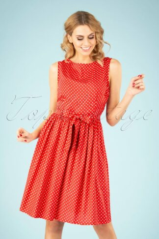 50s Lenna Polkadot Swing Dress in Pale Red