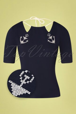 50s Lilibeth Anchor and Rope Top in Navy