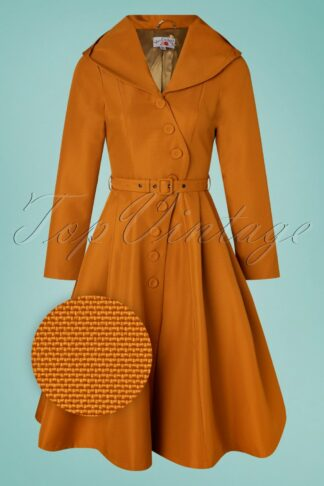 50s Lorin Marigold Swing Trenchcoat in Sun Orange