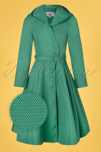 50s Lorin Tiffany Swing Trenchcoat in Aqua