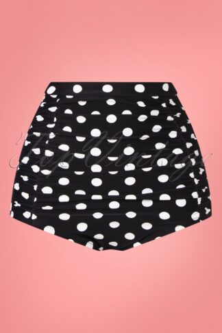 50s Monroe Polkadot High Waist Swim Bottom in Black and White