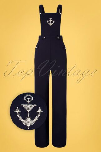 50s Nerissa Anchor Seaside Overall Jumpsuit in Navy