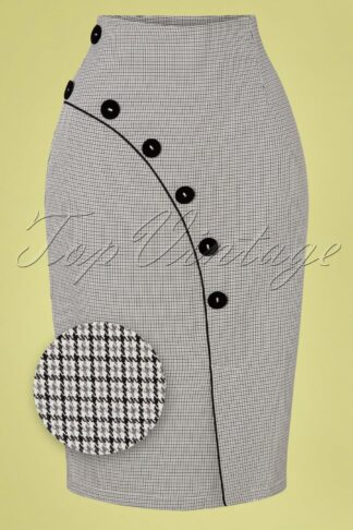50s Nina Houndstooth Pencil Skirt in Black and White