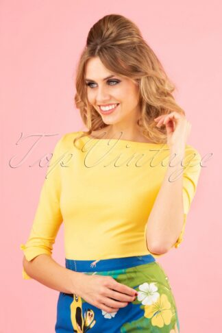 50s Oonagh Top in Yellow