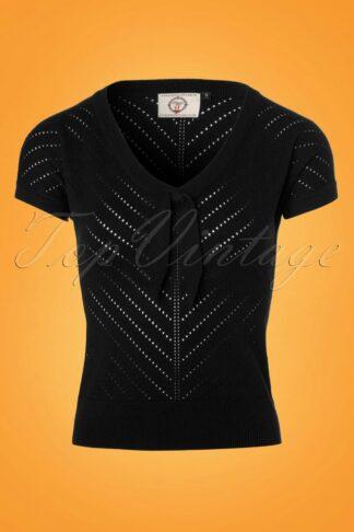 50s Patricia Pointelle Top in Black