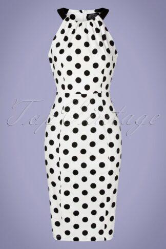 50s Pearl Polkadot Wiggle Dress in White