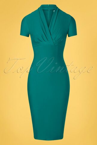 50s Petra Pencil Dress in Teal