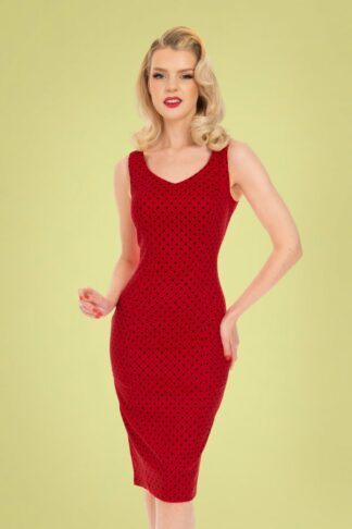 50s Pia Polkadot Pencil Dress in Red and Black