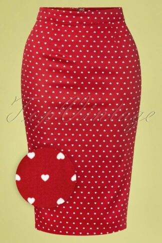 50s Polly Love Hearts Pencil Skirt in Red