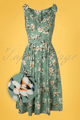 50s Poria Minty Floral Swing Dress in Mint