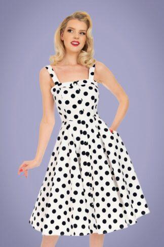 50s Priscila Polkadot Swing Dress in White