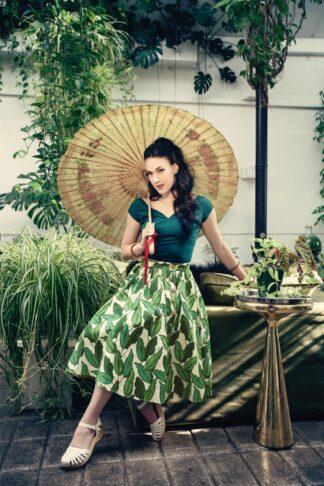 50s Rainforest Swing Skirt in Ivory