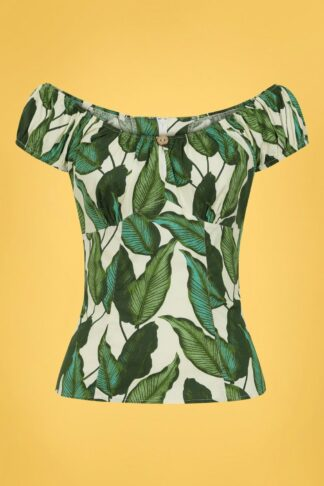 50s Rainforest Top in Ivory