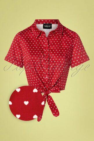 50s Sammy Love Hearts Tie Blouse in Red
