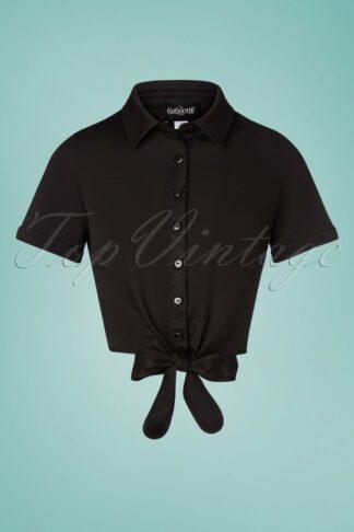 50s Sammy Plain Tie Blouse in Black