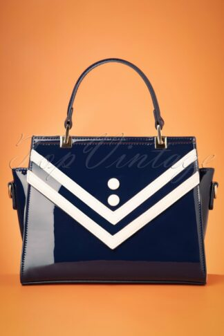 50s Serene Waters Patent Handbag in Navy