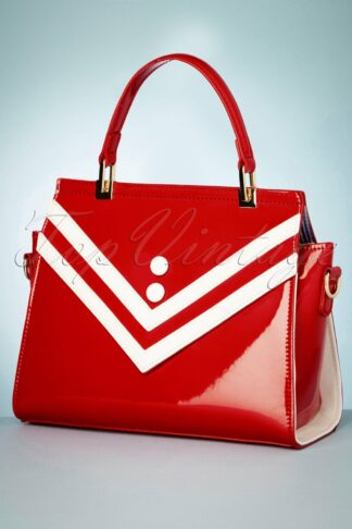 50s Serene Waters Patent Handbag in Red