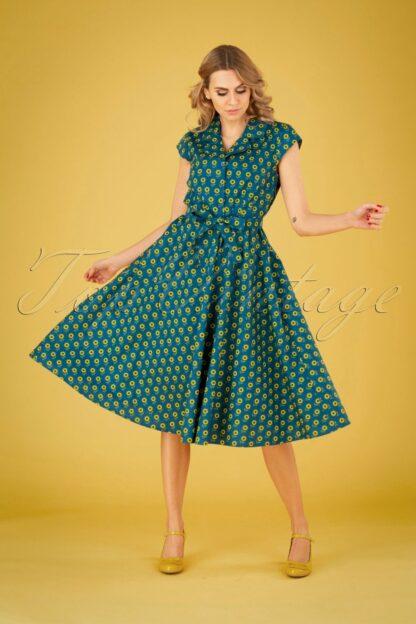 50s Sunny Sunflower Swing Dress in Teal Blue