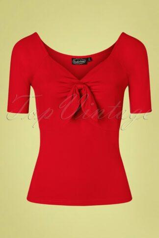 50s Tailor Tie Top in Lipstick Red